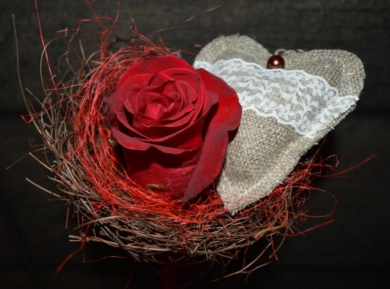 Valentine's day floral composition - rose and heart