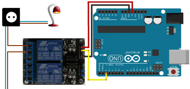 Controlling v using arduino relay board